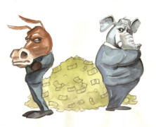 From asses to elephants: Political 'parties' on America's dime